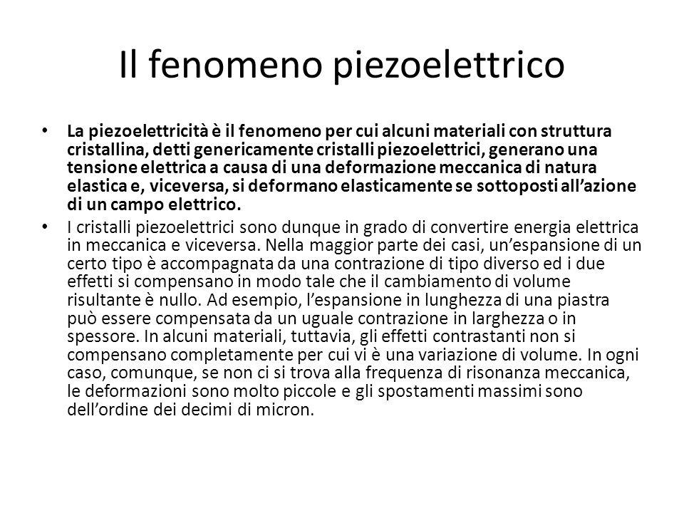 Il fenomeno piezoelettrico La piezoelettricità è il fenomeno per cui alcuni materiali con struttura cristallina, detti genericamente cristalli piezoel