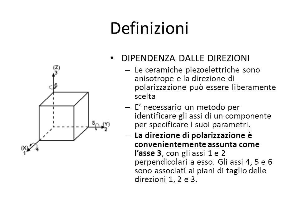 Definizioni DIPENDENZA DALLE DIREZIONI – Le ceramiche piezoelettriche sono anisotrope e la direzione di polarizzazione può essere liberamente scelta –