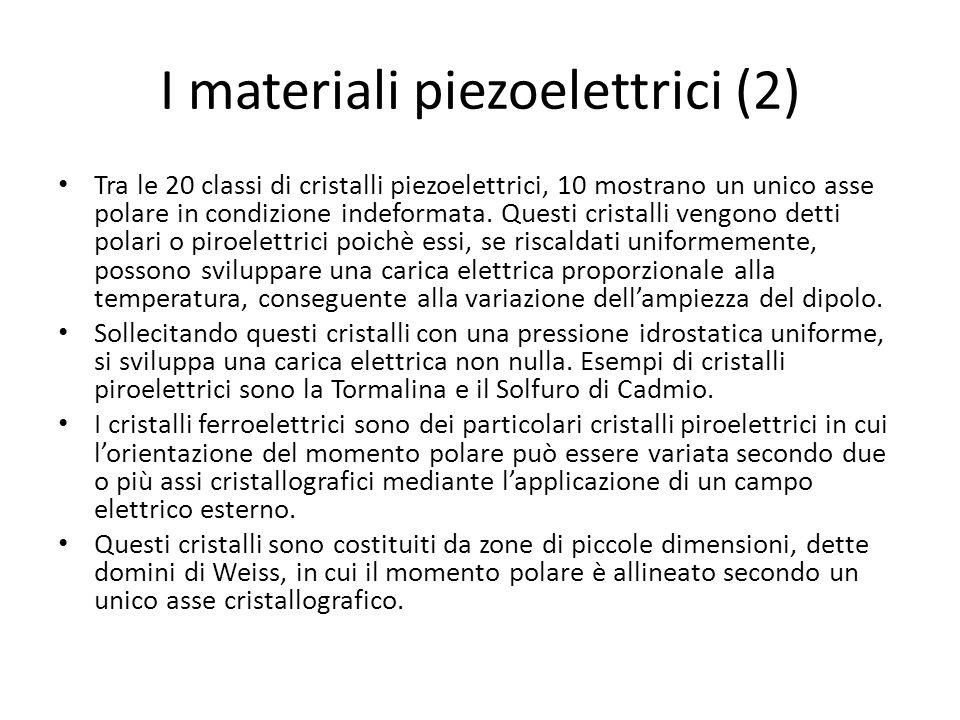 I materiali piezoelettrici (2) Tra le 20 classi di cristalli piezoelettrici, 10 mostrano un unico asse polare in condizione indeformata. Questi crista
