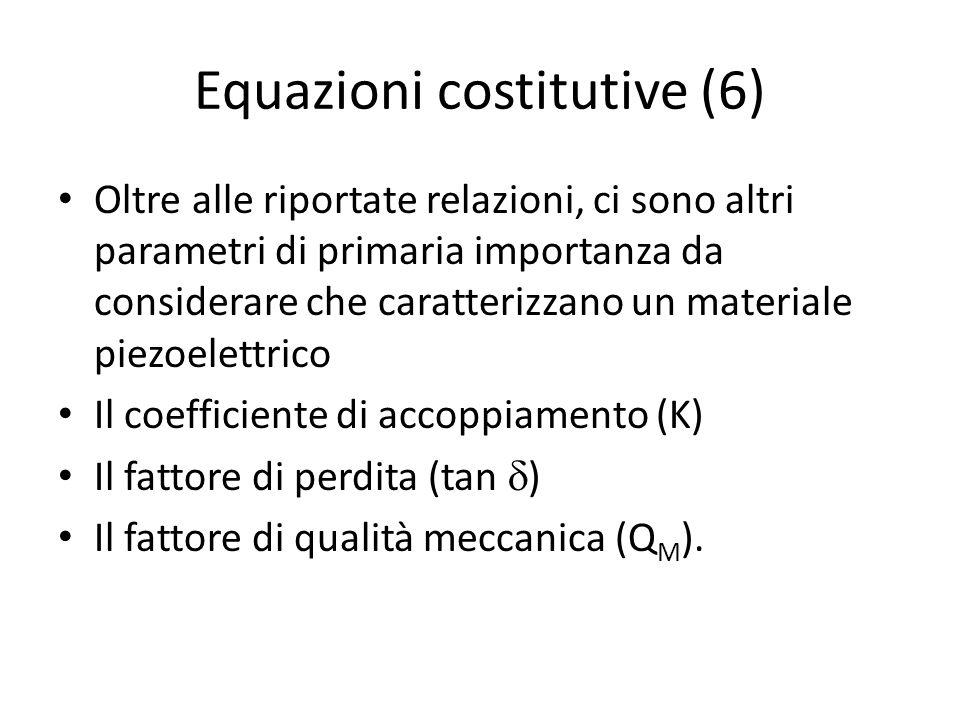 Equazioni costitutive (6) Oltre alle riportate relazioni, ci sono altri parametri di primaria importanza da considerare che caratterizzano un material