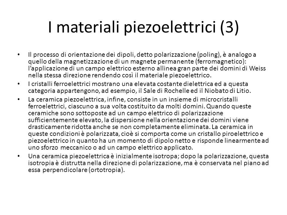 I materiali piezoelettrici (3) Il processo di orientazione dei dipoli, detto polarizzazione (poling), è analogo a quello della magnetizzazione di un m