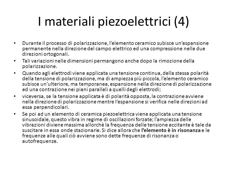 I materiali piezoelettrici (4) Durante il processo di polarizzazione, lelemento ceramico subisce unespansione permanente nella direzione del campo ele