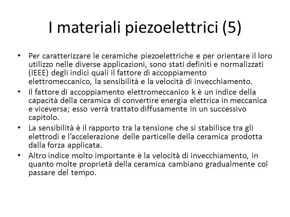 I materiali piezoelettrici (5) Per caratterizzare le ceramiche piezoelettriche e per orientare il loro utilizzo nelle diverse applicazioni, sono stati