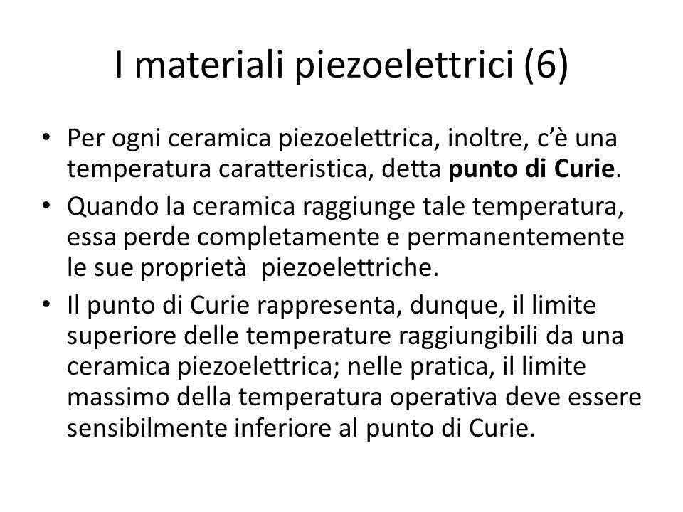 I materiali piezoelettrici (6) Per ogni ceramica piezoelettrica, inoltre, cè una temperatura caratteristica, detta punto di Curie. Quando la ceramica