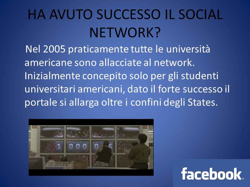 HA AVUTO SUCCESSO IL SOCIAL NETWORK? Nel 2005 praticamente tutte le università americane sono allacciate al network. Inizialmente concepito solo per g