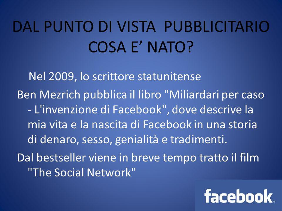 DAL PUNTO DI VISTA PUBBLICITARIO COSA E NATO? Nel 2009, lo scrittore statunitense Ben Mezrich pubblica il libro