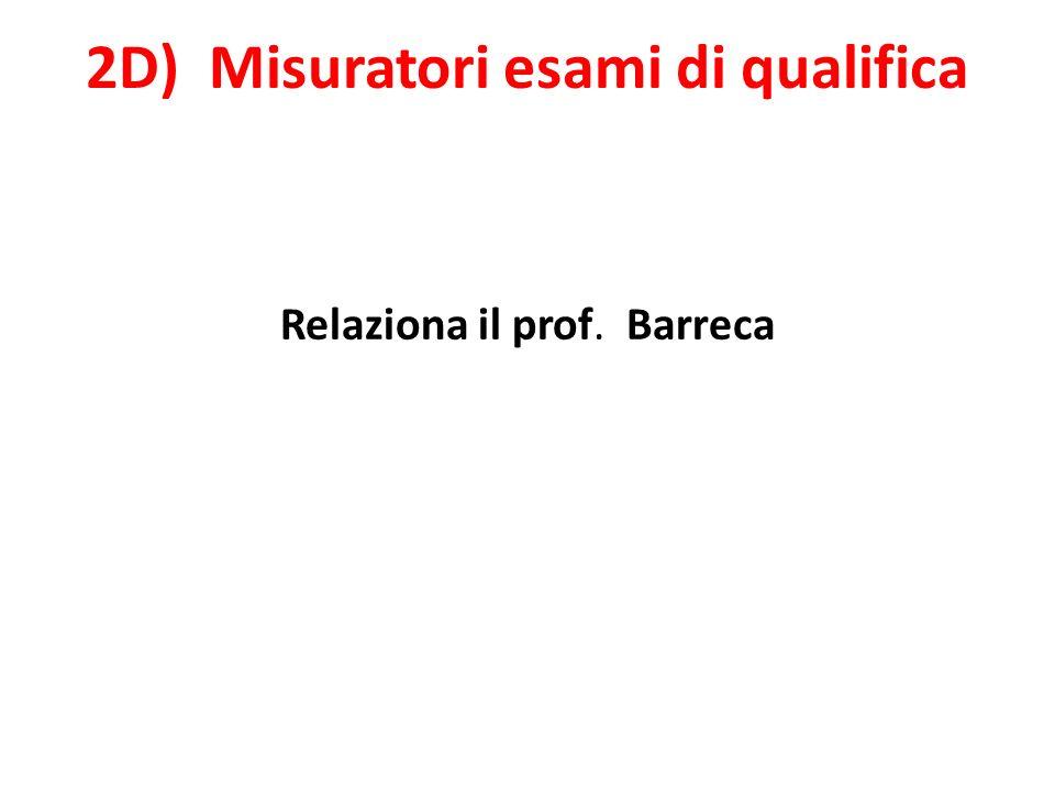 2D) Misuratori esami di qualifica Relaziona il prof. Barreca