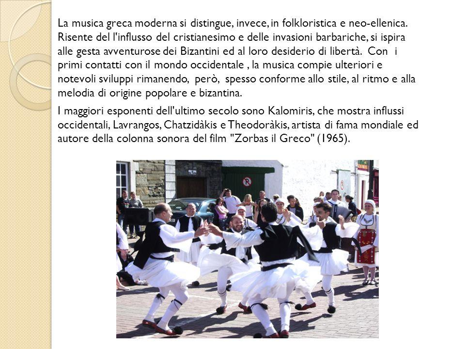 La Musica greca La Musica greca La musica greca ha origini leggendarie, che risalgono ai poemi omerici; infatti sia nell Iliade che nell Odissea, molti canti erano accompagnati dalla danza ed eseguiti al suono della cetra.