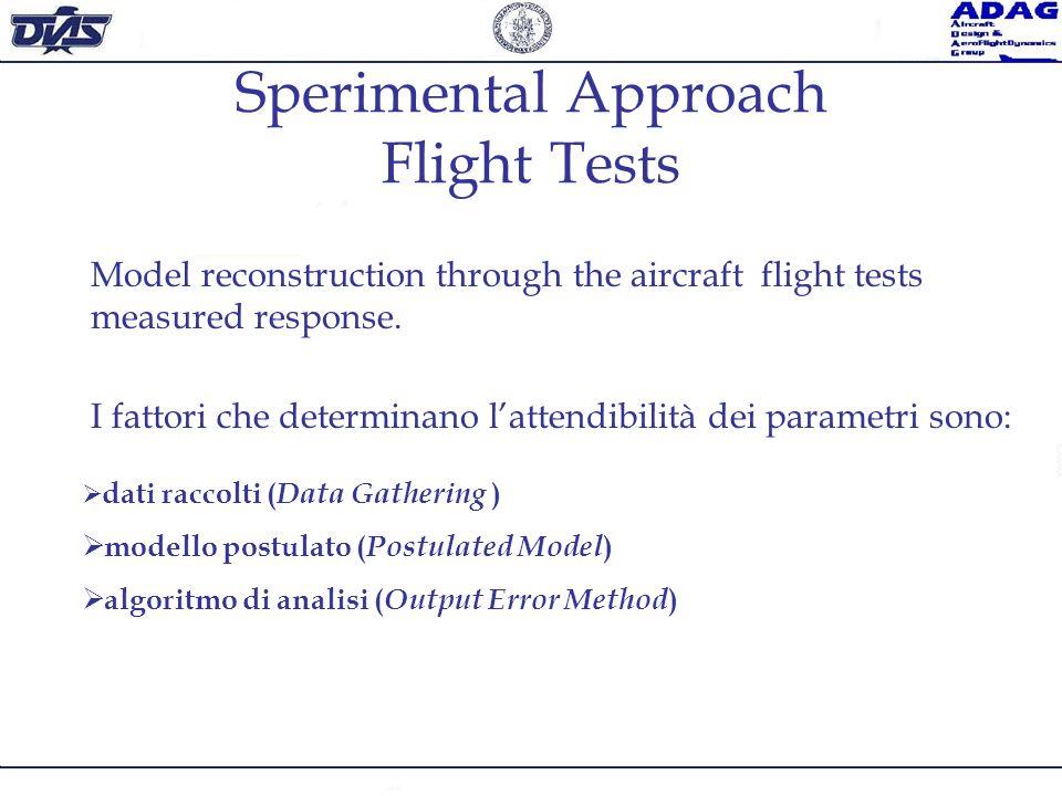 Sperimental Approach Flight Tests Model reconstruction through the aircraft flight tests measured response. I fattori che determinano lattendibilità d