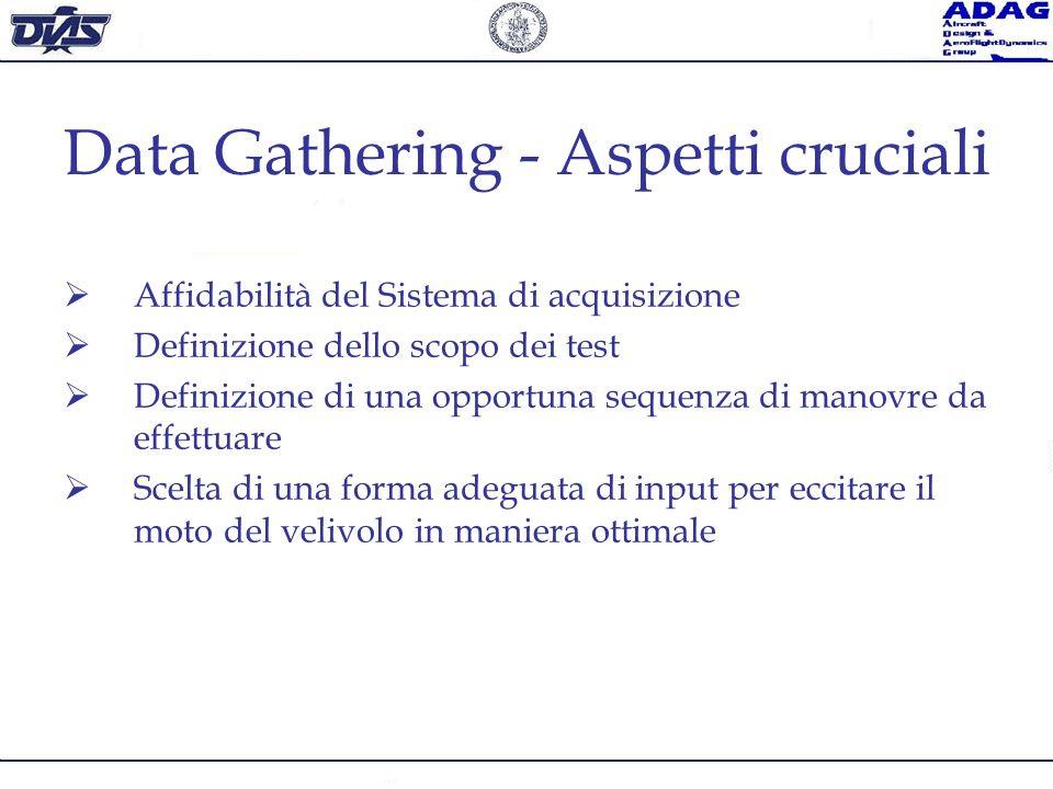 Data Gathering - Aspetti cruciali Affidabilità del Sistema di acquisizione Definizione dello scopo dei test Definizione di una opportuna sequenza di m