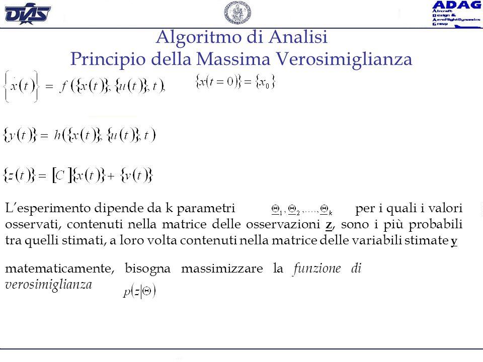 Algoritmo di Analisi Principio della Massima Verosimiglianza matematicamente, bisogna massimizzare la funzione di verosimiglianza Lesperimento dipende