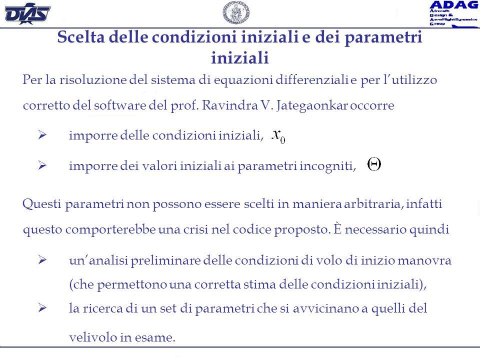 Scelta delle condizioni iniziali e dei parametri iniziali Per la risoluzione del sistema di equazioni differenziali e per lutilizzo corretto del softw
