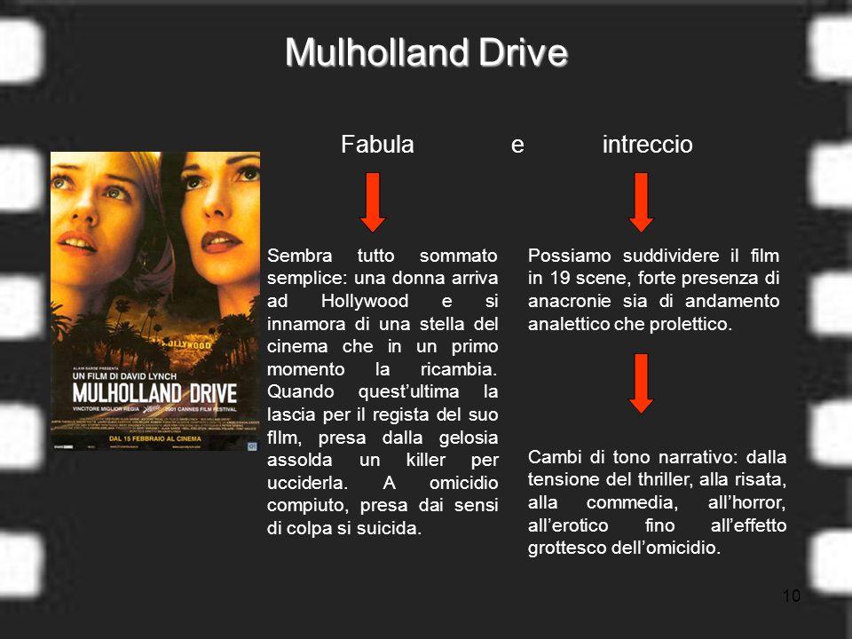 10 Mulholland Drive Fabula e intreccio Sembra tutto sommato semplice: una donna arriva ad Hollywood e si innamora di una stella del cinema che in un primo momento la ricambia.