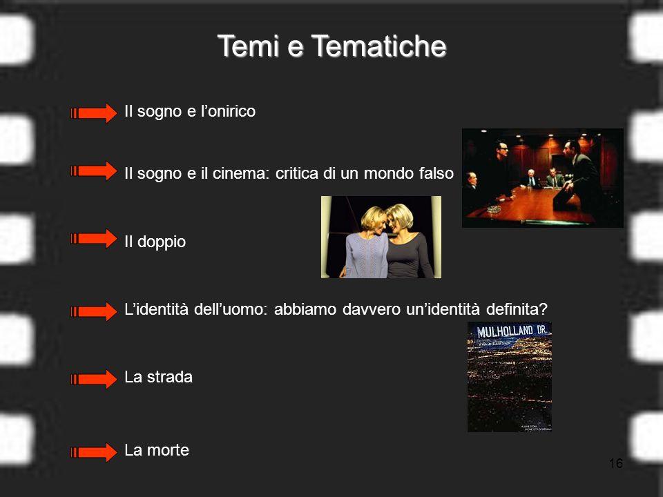 16 Temi e Tematiche La morte Il sogno e lonirico Il sogno e il cinema: critica di un mondo falso Il doppio Lidentità delluomo: abbiamo davvero unidentità definita.