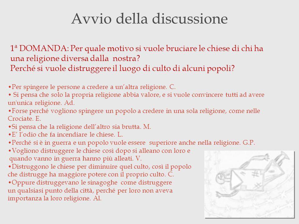 Avvio della discussione 1ª DOMANDA: Per quale motivo si vuole bruciare le chiese di chi ha una religione diversa dalla nostra? Perché si vuole distrug