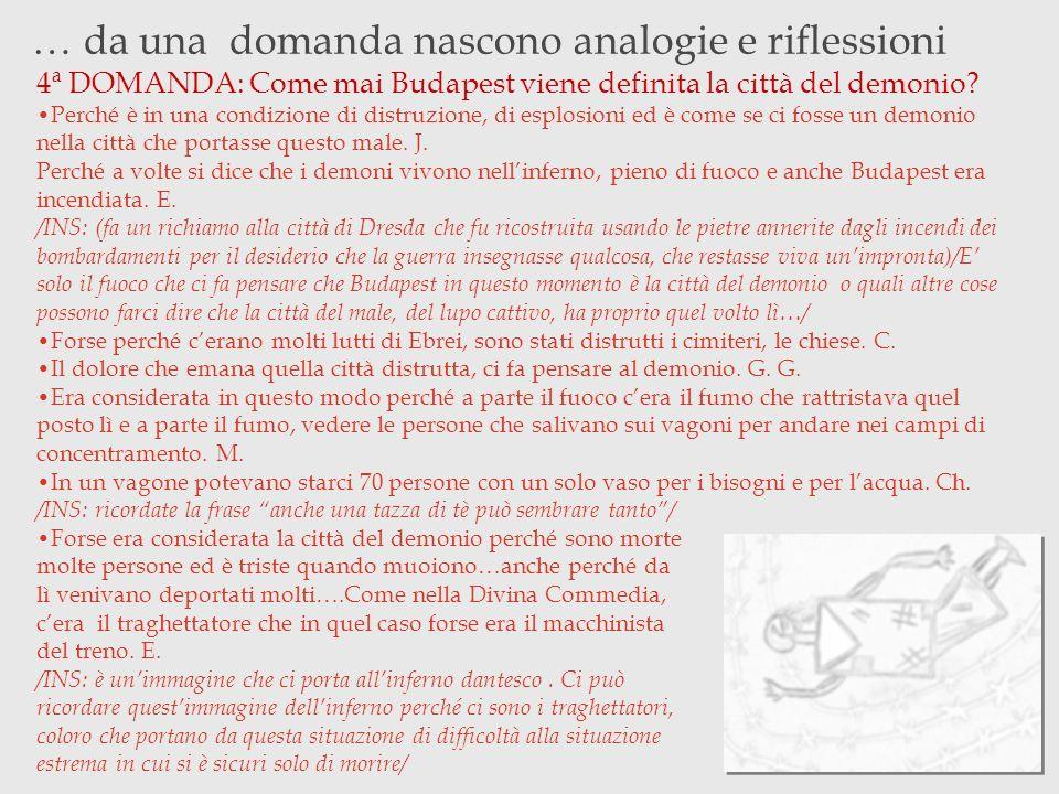 … da una domanda nascono analogie e riflessioni 4ª DOMANDA: Come mai Budapest viene definita la città del demonio? Perché è in una condizione di distr
