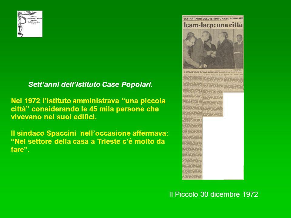 Il Piccolo 30 dicembre 1972 Settanni dellIstituto Case Popolari. Nel 1972 lIstituto amministrava una piccola città considerando le 45 mila persone che