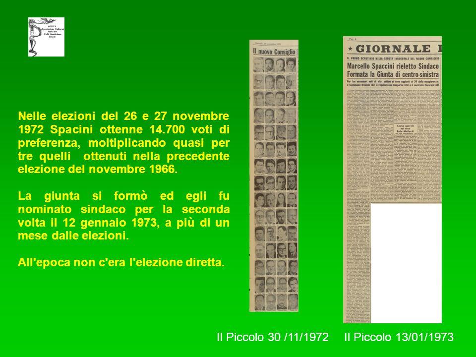 Nelle elezioni del 26 e 27 novembre 1972 Spacini ottenne 14.700 voti di preferenza, moltiplicando quasi per tre quelli ottenuti nella precedente elezi