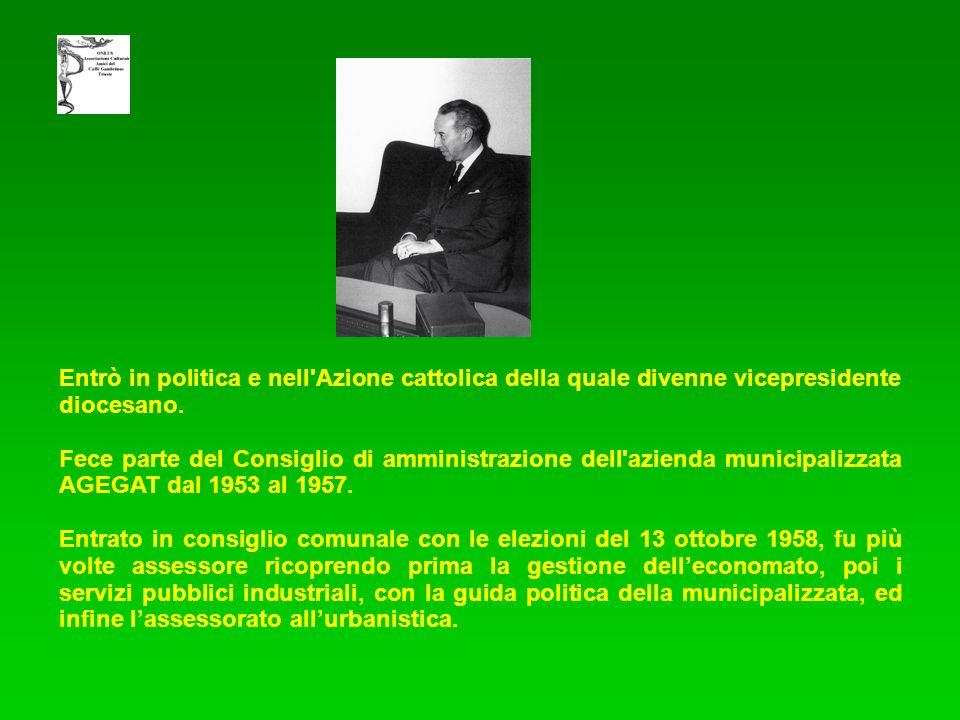 Entrò in politica e nell'Azione cattolica della quale divenne vicepresidente diocesano. Fece parte del Consiglio di amministrazione dell'azienda munic