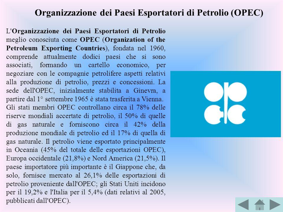 L'Organizzazione dei Paesi Esportatori di Petrolio meglio conosciuta come OPEC (Organization of the Petroleum Exporting Countries), fondata nel 1960,