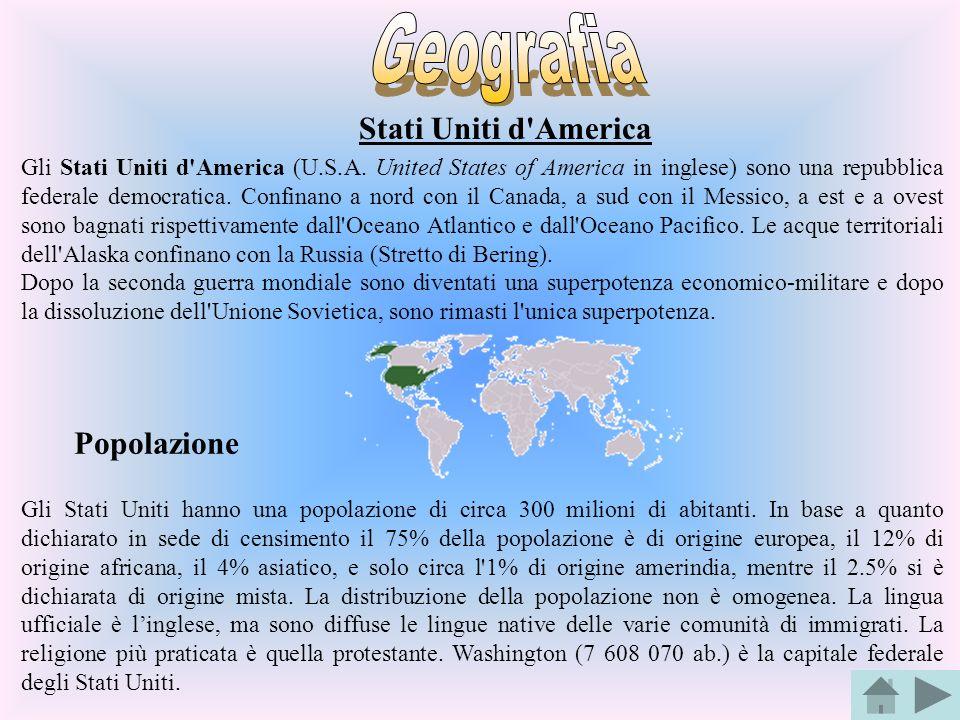 Stati Uniti d'America Gli Stati Uniti d'America (U.S.A. United States of America in inglese) sono una repubblica federale democratica. Confinano a nor