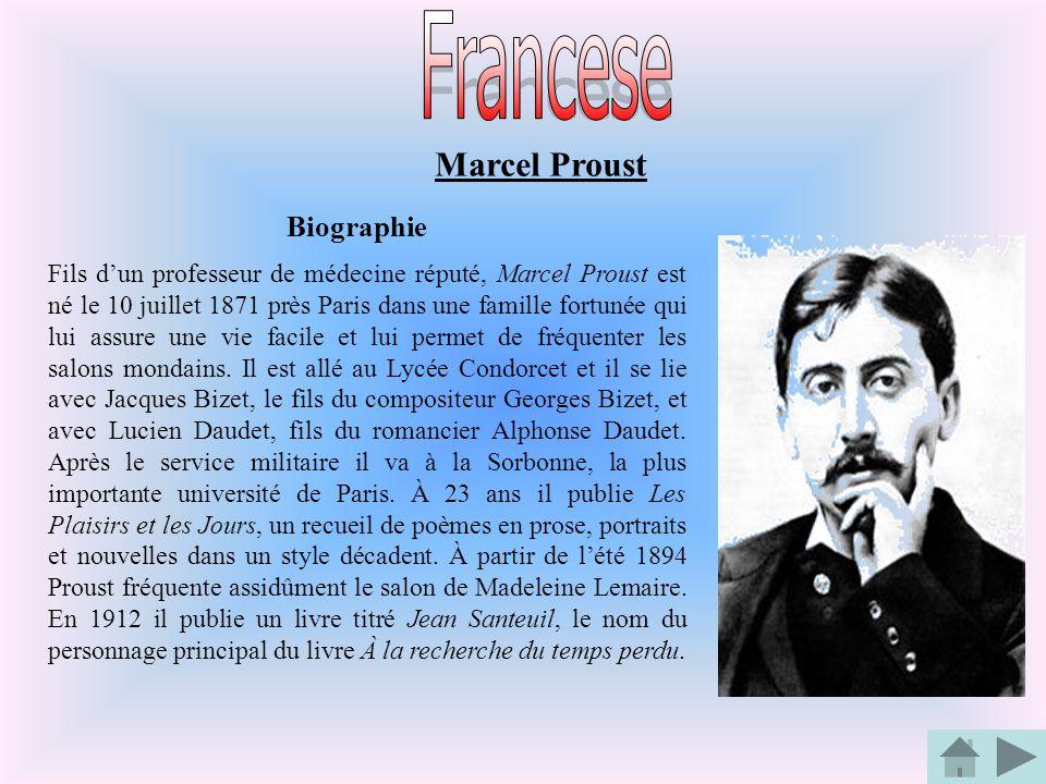 Biographie Fils dun professeur de médecine réputé, Marcel Proust est né le 10 juillet 1871 près Paris dans une famille fortunée qui lui assure une vie