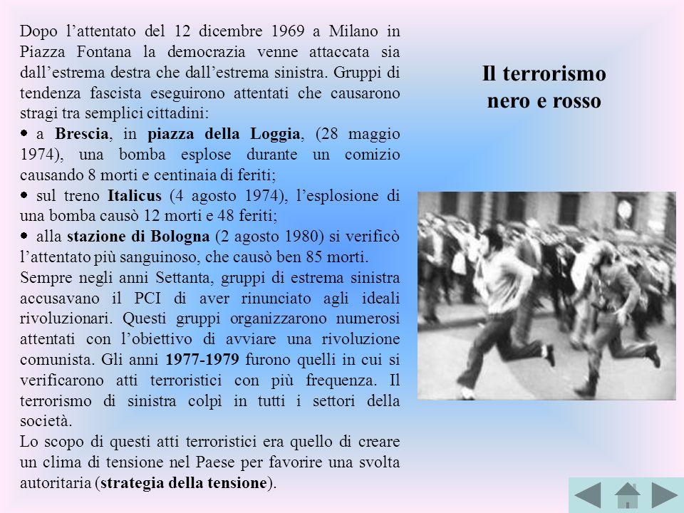 Dopo lattentato del 12 dicembre 1969 a Milano in Piazza Fontana la democrazia venne attaccata sia dallestrema destra che dallestrema sinistra. Gruppi