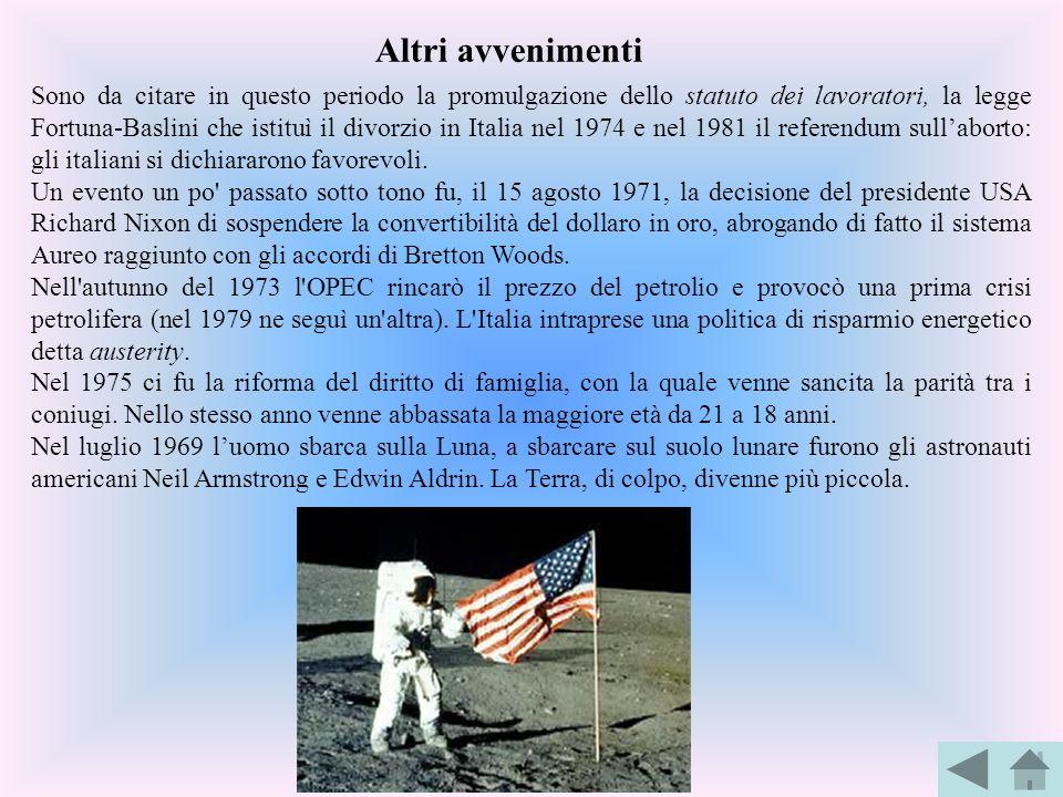 Sono da citare in questo periodo la promulgazione dello statuto dei lavoratori, la legge Fortuna-Baslini che istituì il divorzio in Italia nel 1974 e