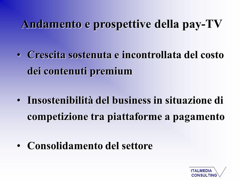 ITALMEDIA CONSULTING Andamento e prospettive della pay-TV Crescita sostenuta e incontrollata del costo dei contenuti premiumCrescita sostenuta e incon