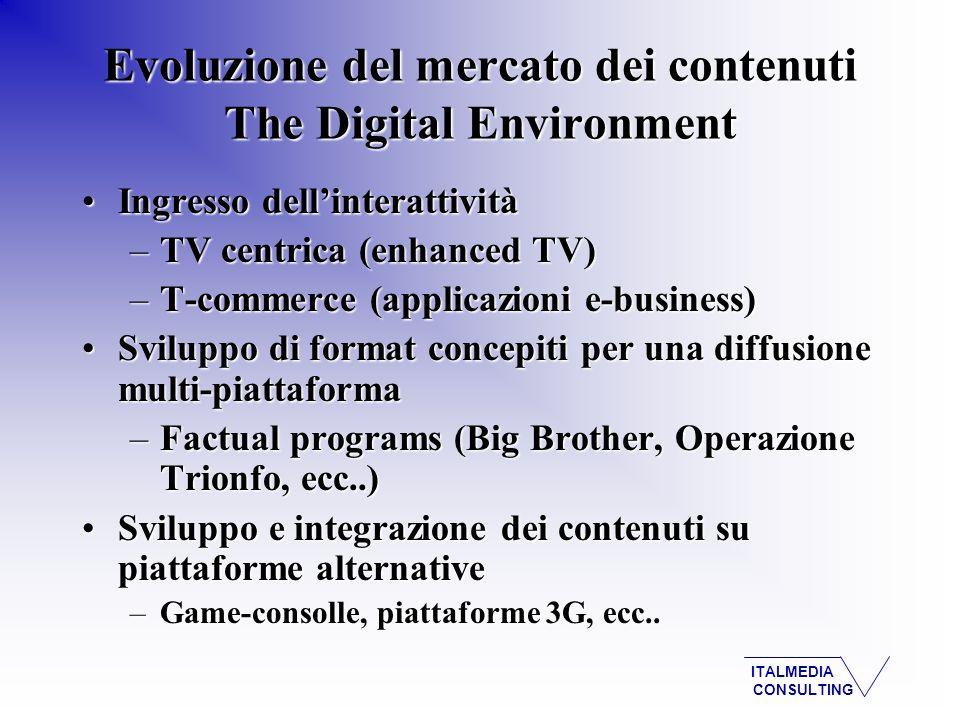 ITALMEDIA CONSULTING Ingresso dellinterattivitàIngresso dellinterattività –TV centrica (enhanced TV) –T-commerce (applicazioni e-business) Sviluppo di