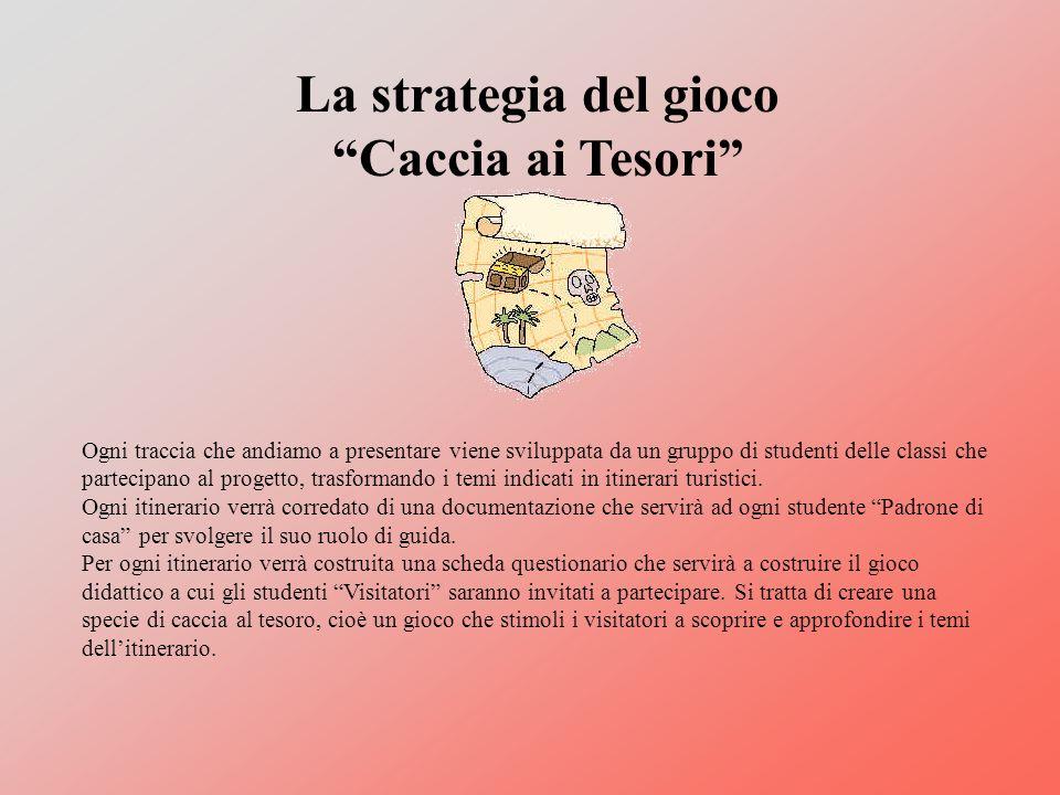 La strategia del gioco Caccia ai Tesori Ogni traccia che andiamo a presentare viene sviluppata da un gruppo di studenti delle classi che partecipano al progetto, trasformando i temi indicati in itinerari turistici.