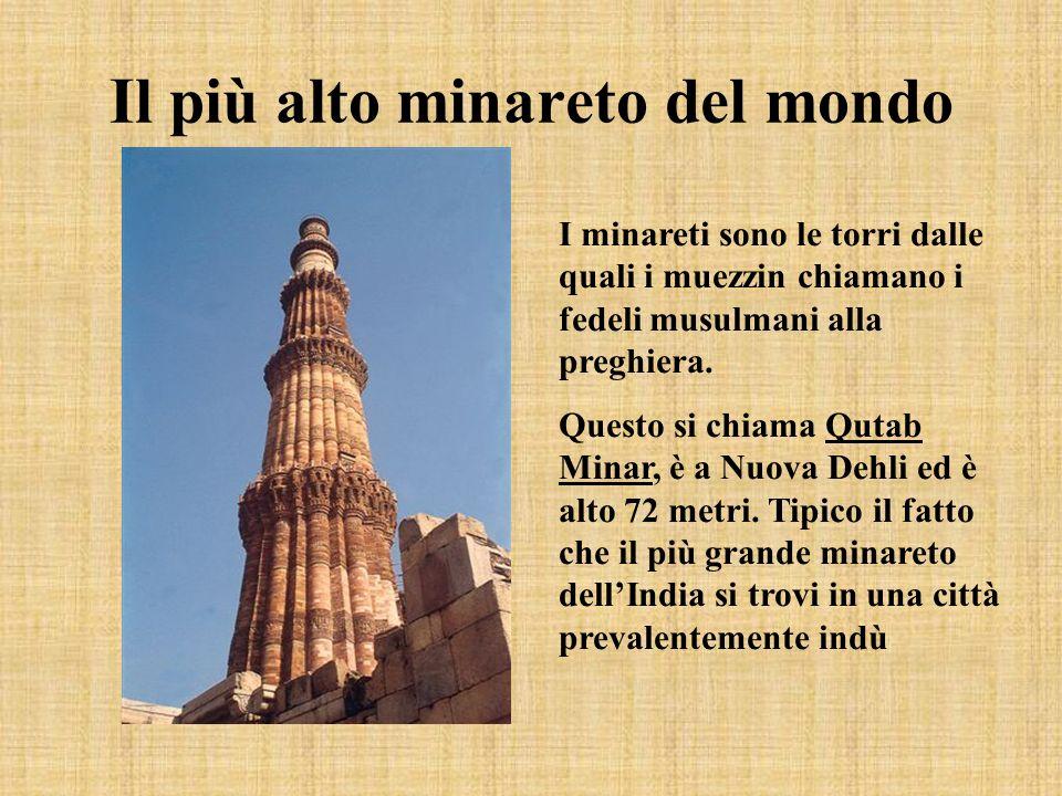 Il più alto minareto del mondo I minareti sono le torri dalle quali i muezzin chiamano i fedeli musulmani alla preghiera. Questo si chiama Qutab Minar