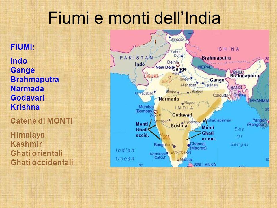 Fiumi e monti dellIndia FIUMI: Indo Gange Brahmaputra Narmada Godavari Krishna Catene di MONTI Himalaya Kashmir Ghati orientali Ghati occidentali