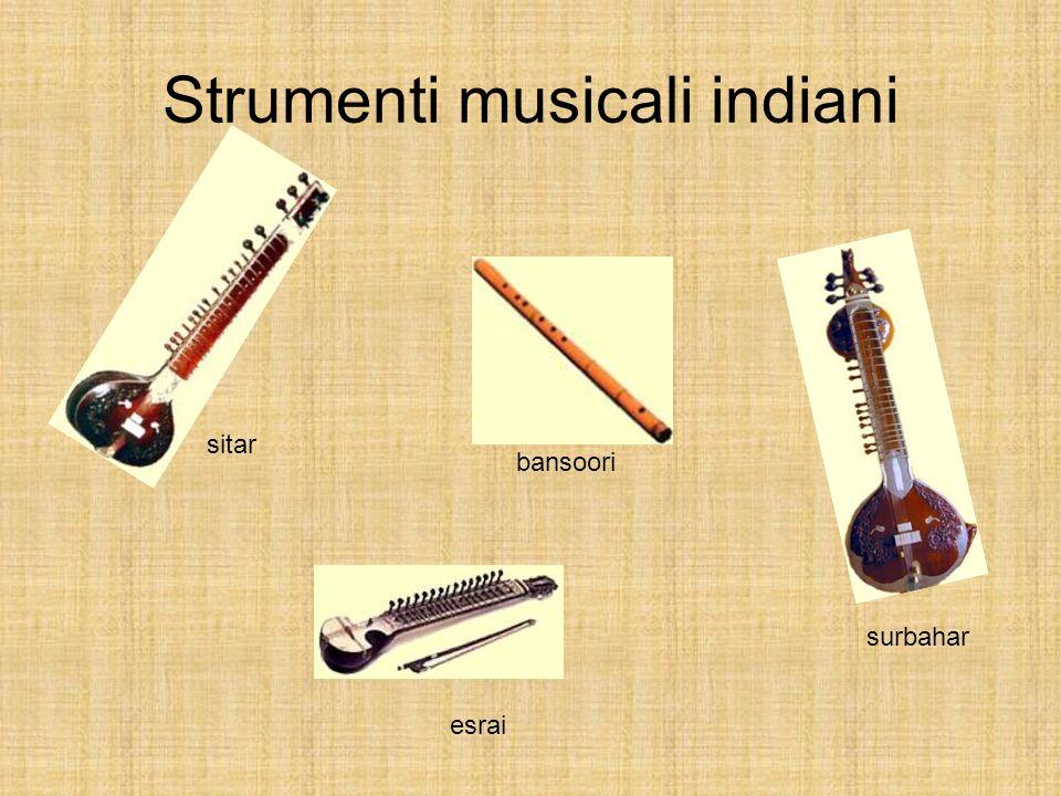 Strumenti musicali indiani sitar surbahar esrai bansoori