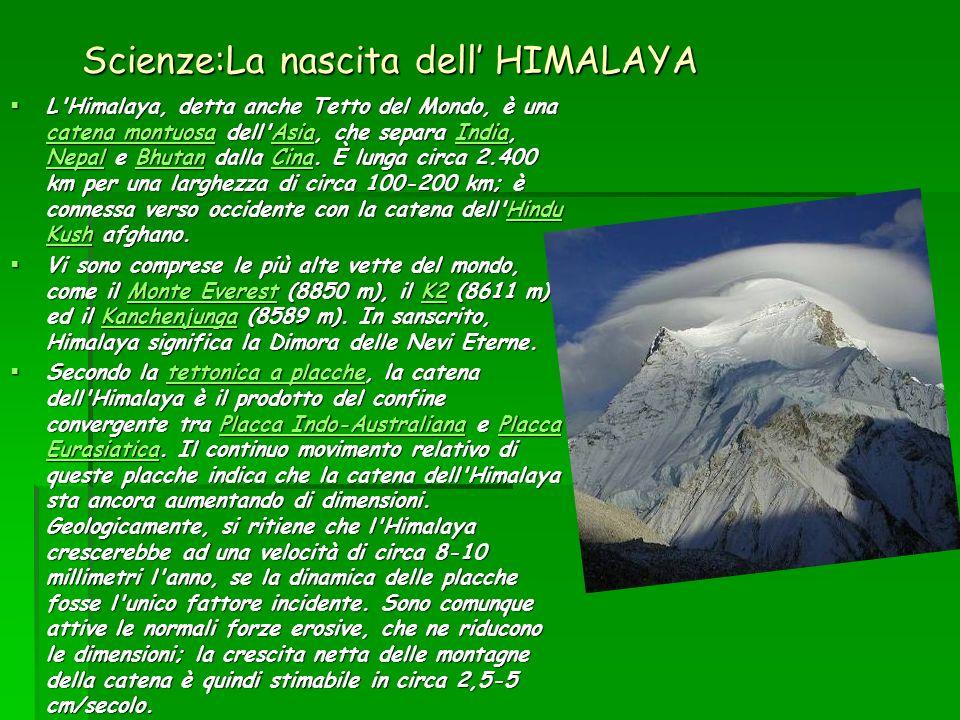 Scienze:La nascita dell HIMALAYA L Himalaya, detta anche Tetto del Mondo, è una catena montuosa dell Asia, che separa India, Nepal e Bhutan dalla Cina.