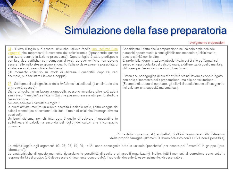 Simulazione della fase preparatoria Note relative ai momenti di preparazione durante le prime due settimane di scuola. Tutti i materiali di questa fas