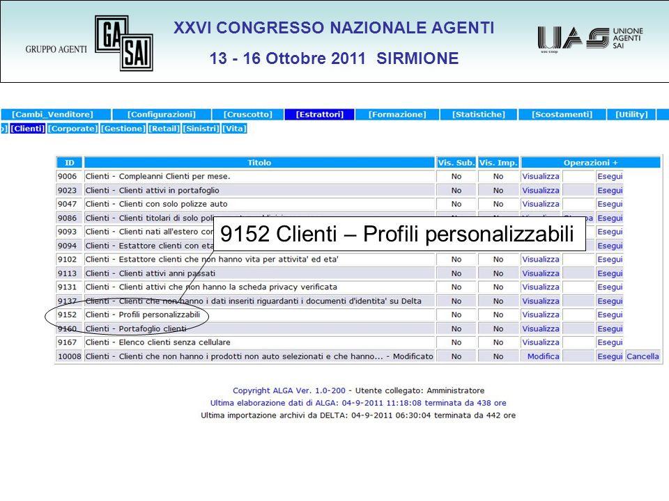 XXVI CONGRESSO NAZIONALE AGENTI 13 - 16 Ottobre 2011 SIRMIONE 9152 Clienti – Profili personalizzabili