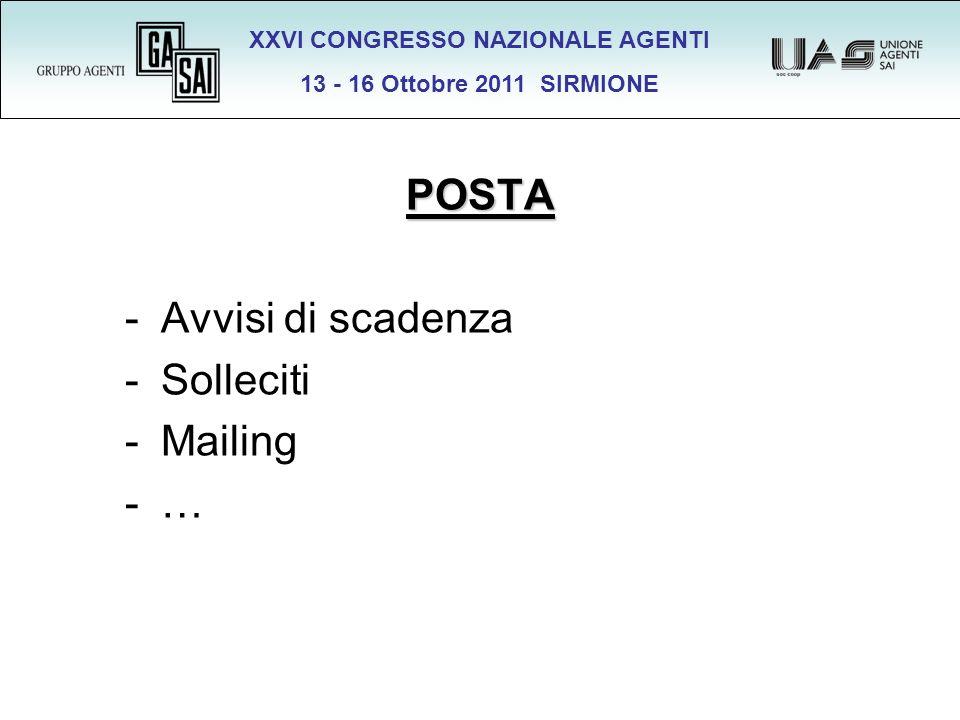 XXVI CONGRESSO NAZIONALE AGENTI 13 - 16 Ottobre 2011 SIRMIONE POSTA -Avvisi di scadenza -Solleciti -Mailing -…