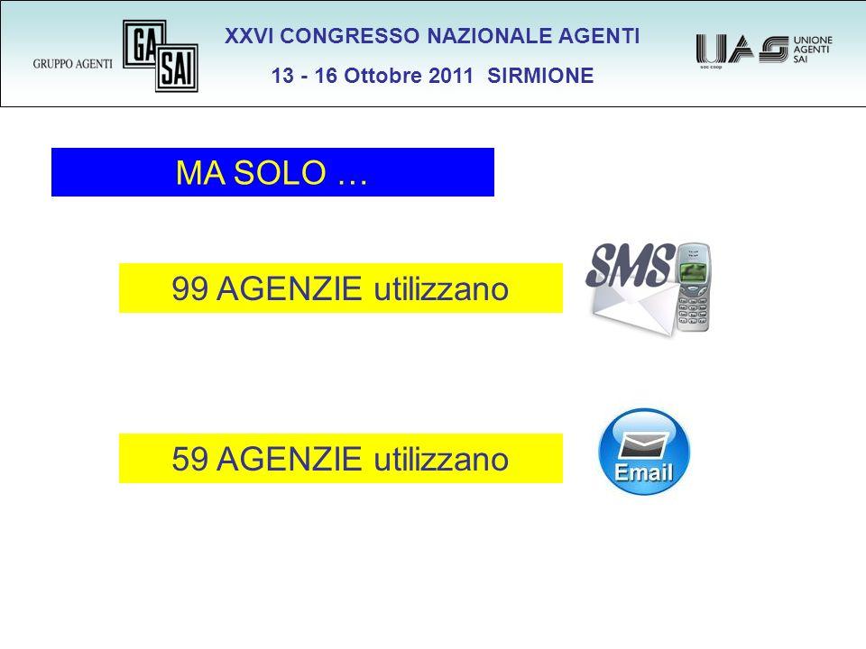 XXVI CONGRESSO NAZIONALE AGENTI 13 - 16 Ottobre 2011 SIRMIONE MA SOLO … 99 AGENZIE utilizzano 59 AGENZIE utilizzano