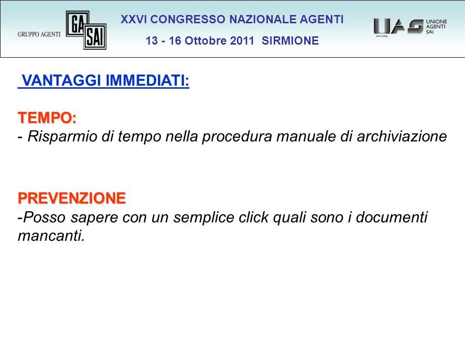 XXVI CONGRESSO NAZIONALE AGENTI 13 - 16 Ottobre 2011 SIRMIONE VANTAGGI IMMEDIATI:TEMPO: - Risparmio di tempo nella procedura manuale di archiviazionePREVENZIONE -Posso sapere con un semplice click quali sono i documenti mancanti.