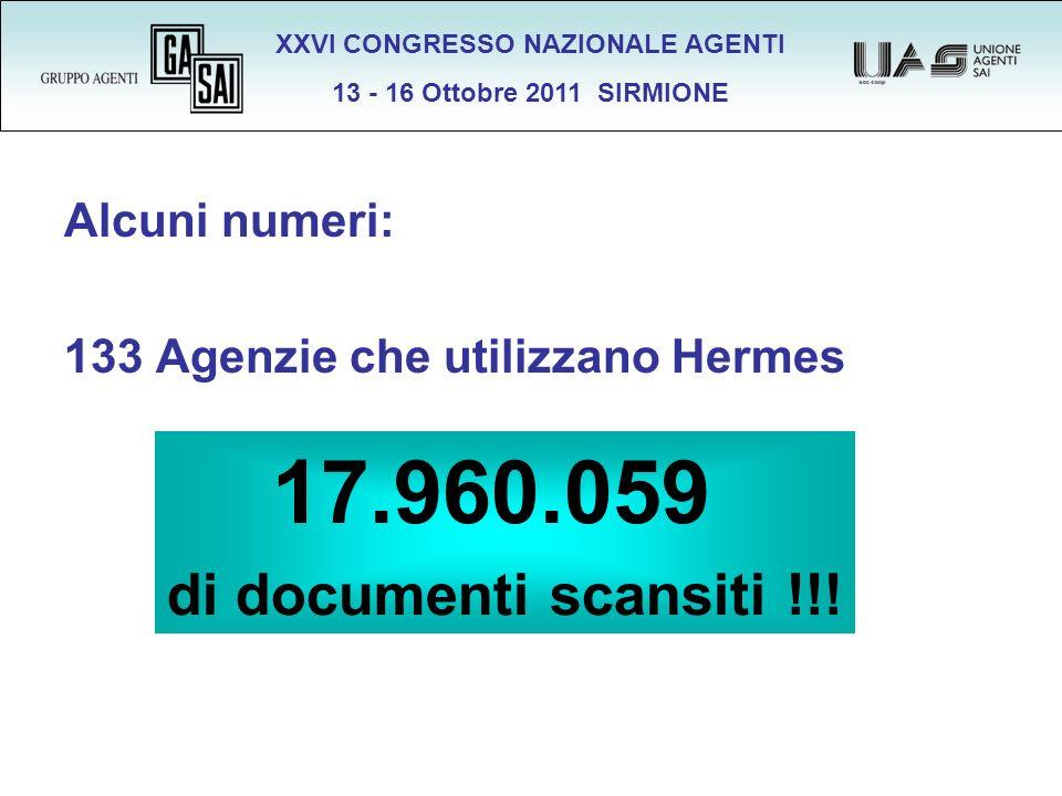 XXVI CONGRESSO NAZIONALE AGENTI 13 - 16 Ottobre 2011 SIRMIONE Alcuni numeri: 133 Agenzie che utilizzano Hermes 17.960.059 di documenti scansiti !!!