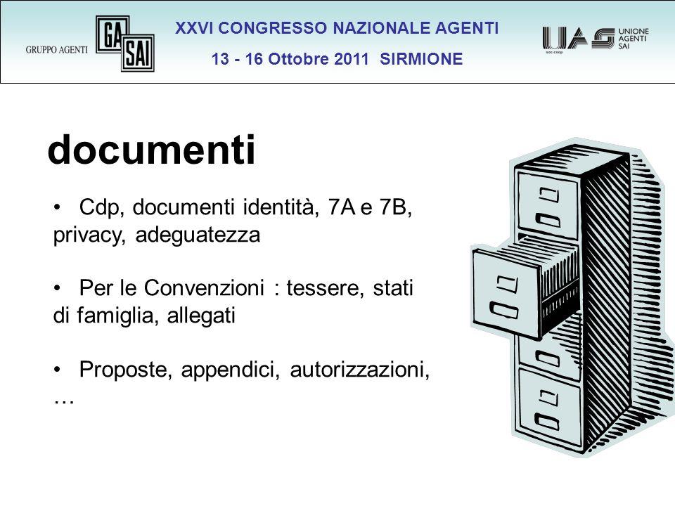 XXVI CONGRESSO NAZIONALE AGENTI 13 - 16 Ottobre 2011 SIRMIONE documenti Cdp, documenti identità, 7A e 7B, privacy, adeguatezza Per le Convenzioni : te