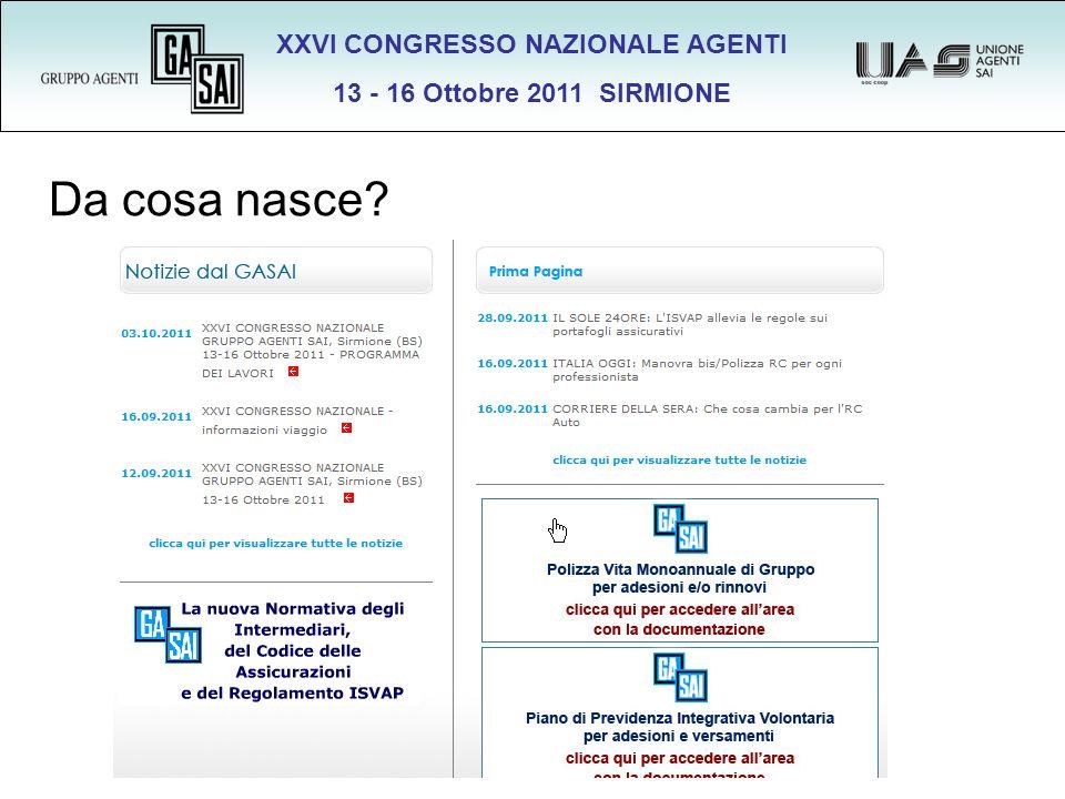XXVI CONGRESSO NAZIONALE AGENTI 13 - 16 Ottobre 2011 SIRMIONE Da cosa nasce?
