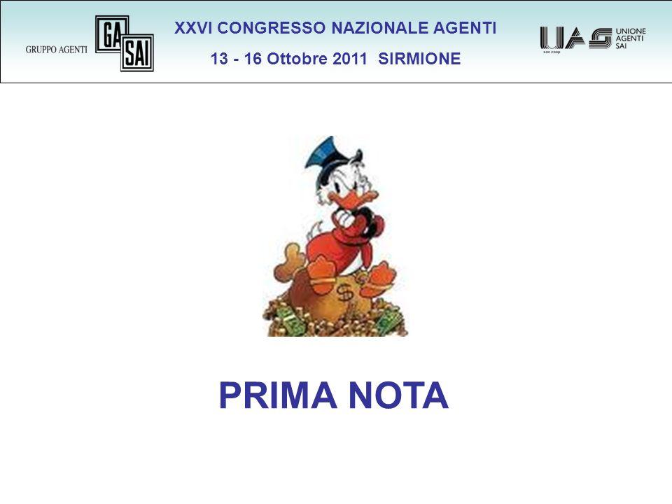 XXVI CONGRESSO NAZIONALE AGENTI 13 - 16 Ottobre 2011 SIRMIONE PRIMA NOTA