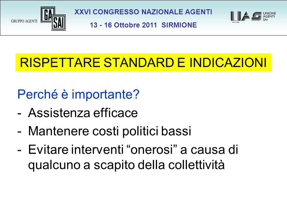 XXVI CONGRESSO NAZIONALE AGENTI 13 - 16 Ottobre 2011 SIRMIONE RISPETTARE STANDARD E INDICAZIONI Perché è importante? -Assistenza efficace -Mantenere c