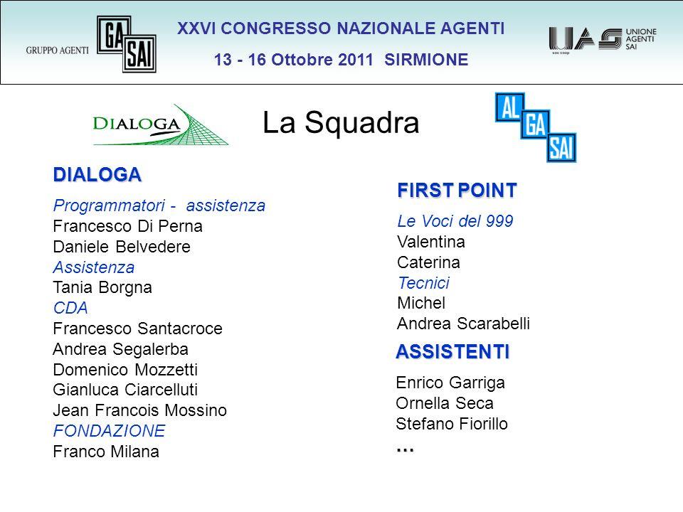XXVI CONGRESSO NAZIONALE AGENTI 13 - 16 Ottobre 2011 SIRMIONE La Squadra DIALOGA Programmatori - assistenza Francesco Di Perna Daniele Belvedere Assis