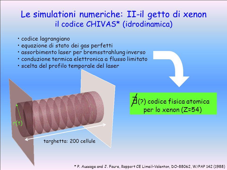 Le simulationi numeriche: II-il getto di xenon il codice CHIVAS* (idrodinamica) targhetta: 200 cellule r(t) codice lagrangiano equazione di stato dei gas perfetti assorbimento laser per bremsstrahlung inverso conduzione termica elettronica a flusso limitato scelta del profilo temporale del laser (?) codice fisica atomica per lo xenon (Z=54) * P.