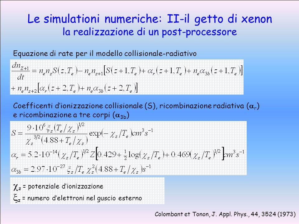 Le simulationi numeriche: II-il getto di xenon la realizzazione di un post-processore Equazione di rate per il modello collisionale-radiativo Colombant et Tonon, J.