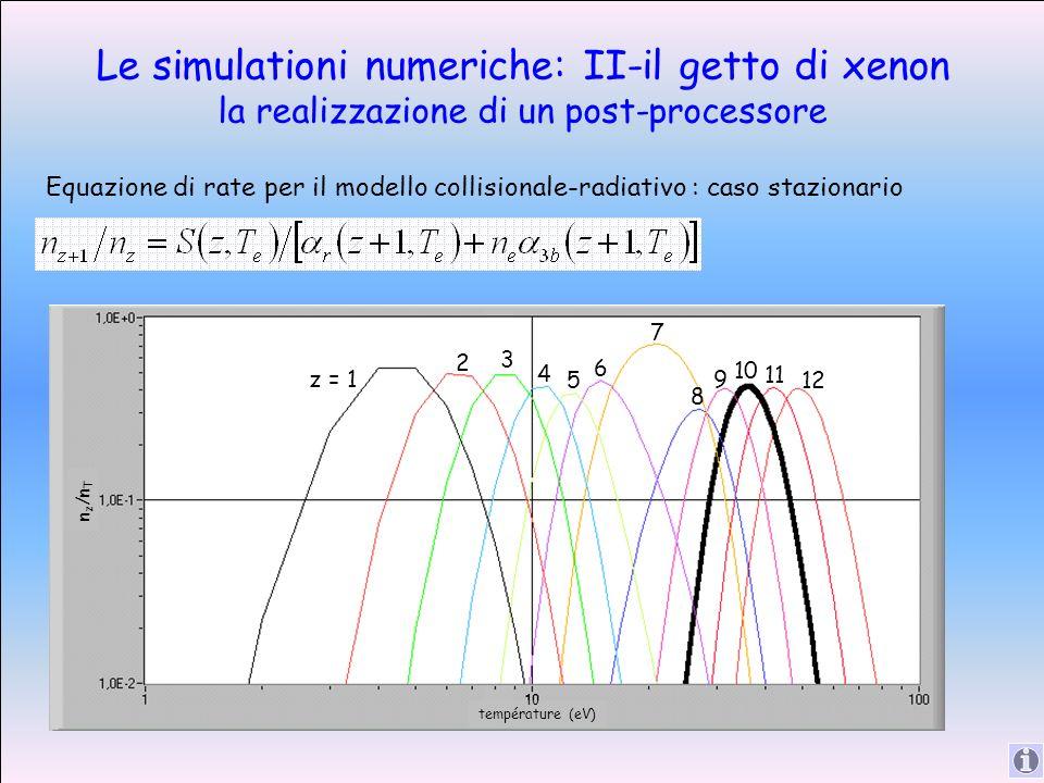 Le simulationi numeriche: II-il getto di xenon la realizzazione di un post-processore Equazione di rate per il modello collisionale-radiativo : caso stazionario n z /n T température (eV) 10 z = 1 2 3 4 5 6 7 8 9 10 11 12