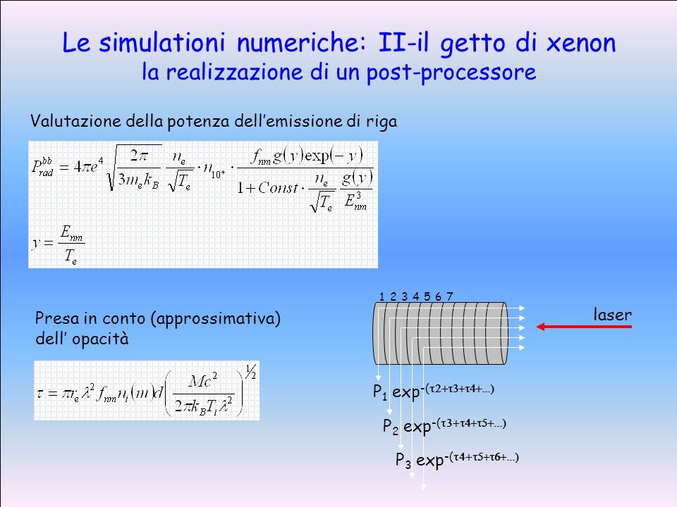 Le simulationi numeriche: II-il getto di xenon la realizzazione di un post-processore Valutazione della potenza dellemissione di riga Presa in conto (approssimativa) dell opacità 1234567 P 1 exp -( P 2 exp -( P 3 exp -( laser